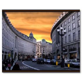 Αφίσα (Λονδίνο, ηλιοβασίλεμα, γελοιογραφία, δρόμος, άνθρωποι)